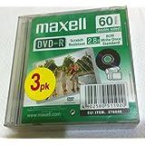 Maxell caméscope 60minutes double face–3x DVD-R (8cm)–2.8Go chaque–Jewel Case–Support de stockage