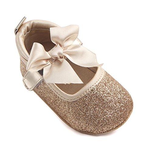 Prinzessin Schuhe Mädchen Weiche Sohle Bling Bowknot Anti-Rutsch Baby schuhe Luckygirls (12.5cm(6 ~ 12 Monate), Gold) (Mädchen Kleid Silber Schuhe)