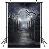 LYWYGG 5x7FT Noche de la Luna de Halloween Decoración de Halloween Telones de Fondo de Vinilo de Halloween Fotografía Fondo Telón de Fondo Prop CP-52