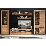 Lomadox Wohnzimmer TV Mediawand Wohnwand Wildeiche massiv inkl. LED, montierte Möbel