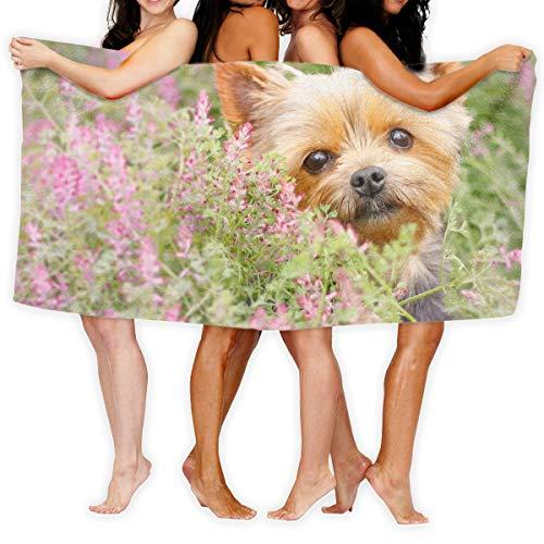 Sotyi-ltd Yorkshire Terrier Maulkorb Welpen Blumen Badetücher Strandtücher Pool Handtücher Erwachsene weich saugfähig 79 x 130 cm (Yorkshire Welpen)