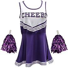 Traje disfraz de animadora uniforme High School Musical disfraz Con Pompones 6Colores–5tamaños a elegir
