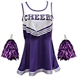 Pom-Pom Girl déguisement Uniforme High School Musical pour fille avec pompons en 6couleurs–5tailles au choix -  Violet - Taille Unique