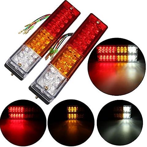 AMBOTHER 2pcs Feux Arrières 20 LEDs Clignotant Lampe de Recul Imperméable Indicateur Freinage Tourner Marqueur pour Remorque, Caravane, Véhicule, Bateau et Camion DC 12V