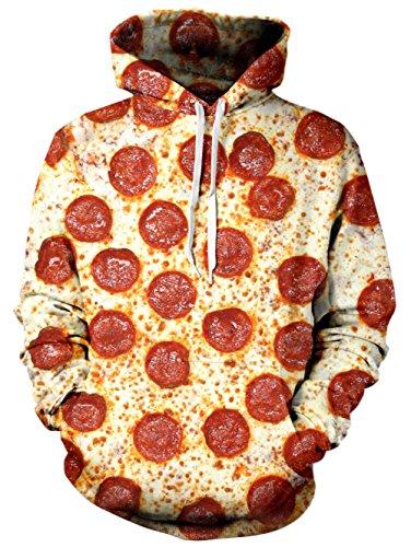 Bfustyle Unisex 3D Digital gedruckt Santa Xmas Pizza Pullover mit Kapuze Geschenk Geschenk Hässliche Winter-Sweatshirt mit großer Tasche