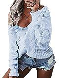 YOINS Oversize Pullover Damen Strickpullover Damen Sexy Off Shoulder Langarmshirt Schulterfrei V-Ausschnitt Causal T-Shirt Hellblau M/EU40-42