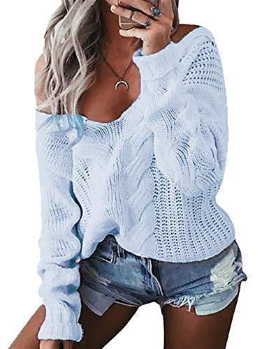 YOINS Oversize Pullover Damen Strickpullover Damen Sexy Off Shoulder Langarmshirt Schulterfrei V-Ausschnitt Causal T-Shirt Hellblau XL/EU46