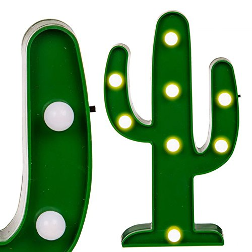 Plastica Cactus luce 8LED a luce bianca calda Lampada da tavolo, cocktail bar, feste