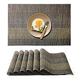 Raniaco Platzdeckchen Tischset Abwaschbar Platzset - 6er Pack, rutschfest Wasserdicht Abwischbar Kunststoff Tischsets 45 cm x 30 cm, Schwarz Platzsets