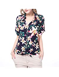 Women Hawaiian Casual Blouse, NASHALYLY Summer Short-Sleeve Button Up Flower Designs Shirts Tops Holiday Beach Daily Wear
