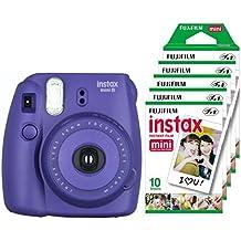 Fujifilm Instax Mini 8 - Cámara instantánea (flash, 1/60 sec) color violeta + 5 paquetes de películas fotográficas instantáneas (10 hojas)