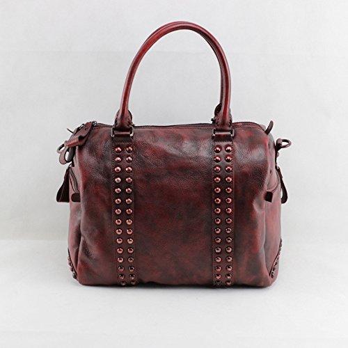 Ordinateur portable sac à main en cuir vintage épaule diagonal de la couche d'en-tête de sacs en cuir Wine Red
