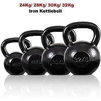 Costway Cast Iron Kettlebell Strength Exercise Training Kettlebells Home Gym Fitness (24Kg, 28Kg, 30Kg,32Kg)