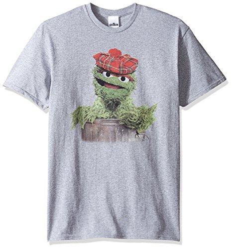 Sesamstraße Herren T-Shirt Newsboy Oscar The Grouch - grau - Groß (Erwachsene Street T-shirts Für Sesame)