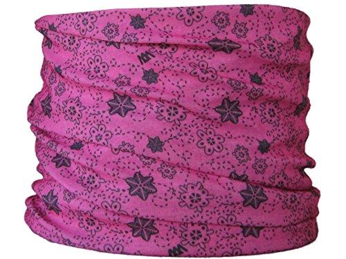 Braga para el cuello, pañuelo de microfibra multifunción, diseño de flores fondo de color rosa