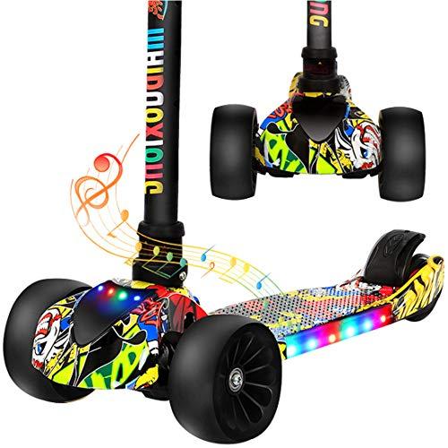 GRXXX Dreirädriges Kinderroller-Blitzspielzeug für Kinder, faltbar, einstellbar, im Freien,Multi Colored-OneSize