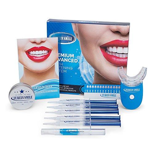 FUREIN SMILE Zahnaufhellungs Gel Kit Teeth Whitening System mit Remineralisierungsgel + Aktivkohlepulver -