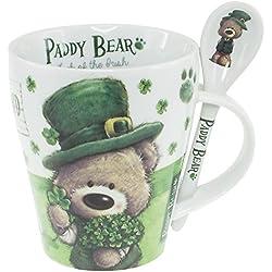 Paddy oso irlandés diseñado juego de cuchara y taza con diseño de trébol y Irlanda texto