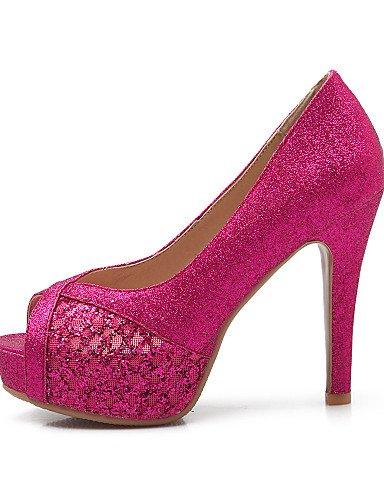 UWSZZ IL Sandali eleganti comfort Scarpe Donna-Sandali-Casual-Tacchi / Spuntate-Quadrato-Materiali personalizzati / Tulle-Nero / Rosso / Tessuto almond Black