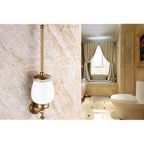 MTJQCL® Ciotola di toletta di stile europeo spazzola WC tazza WC bronzo antico pennello-bagno set