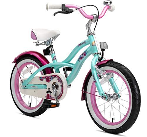 BIKESTAR Premium Sicherheits Kinderfahrrad 16 Zoll für Mädchen ab 4-5 Jahre | 16er Kinderrad Cruiser | Fahrrad für Kinder Mint -