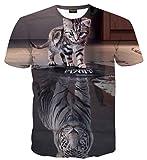 PIZOFF Unisex Print Schmale Passform T Shirts mit Karikatur Katze 3D Druckmuster Katze und Tiger AL067-23-XL