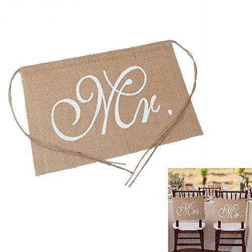 Guajave Stuhlbanner-Set mit Stühlen, Aufschrift Mr. & Mrs, rustikal, Dekoration für Hochzeiten und Partys