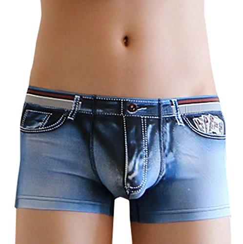 OVERDOSE 3D Boxer Imprimé, Homme Sexy Shorts Slips Slim Taille Basse Caleçon Jeans Maillots de Bain (L, Bleu)