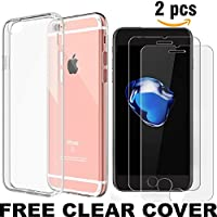 2 X iPhone 7 Tempered Glass Screen Protector With Clear silicone Case cover for apple iPhone 7