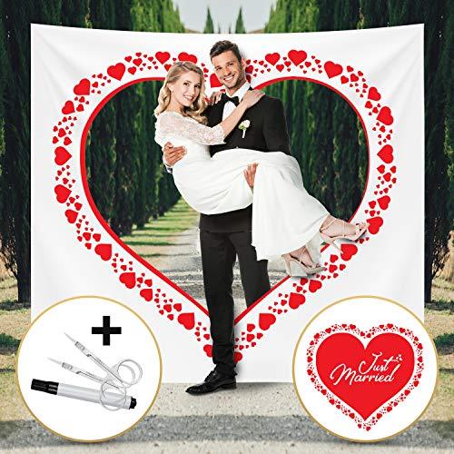 Fairytale Wedding © Hochzeitsherz zum Ausschneiden für Brautpaar - Hochzeitsherz auf bedrucktem Bettlaken - Hochzeitsgeschenk und ideales Hochzeitsspiel
