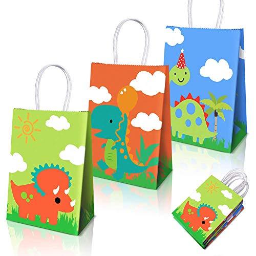 Dinosaurier Party Supplies Favors, Dinosaurier Party Taschen für Dinosaurier Theme Geburtstag Partydekorationen 15 Packungen (3 Designs)