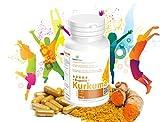 Kurkuma Kapseln (Curcumin) mit Piperin: 120 Kapseln - Vegan - Curcuma plus Bioperine verbesserte Bioverfügbarkeit .Garantiert Glutenfrei