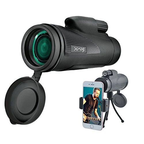 Monokulares Teleskop mit mobilem Adapter AXESX 12 × 50 Monocular Dual Focus Optik-Weitwinkel HD Zoom Monocular Scope, Teleskop mit Stativ Handy-Halter, Low Night Vision Handheld Scope für Vogelbeobachtung / Outdoor / Camping