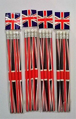 Kaybeck Stores Union Jack Bleistifte mit Radierer, Souvenir zum Sammeln, 16Stück