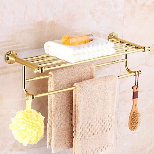 LHbox Tap Komplettes Badezimmer Zubehör Messing Badetuch Rack-Bathroom Gold integrierte Regal 3-Tier Badezimmer Handtuchhalter, B - 3-tier Bathroom Regal