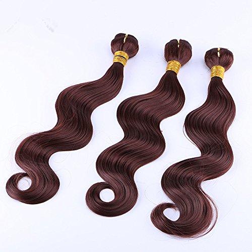 3PCS Set 16Daumen Hochtemperatur Fiber-Extensions Kunsthaar PU Haar Körper Welle Haar # 33Farbe 100g pro Kabelbaum - Körper-welle Farbe