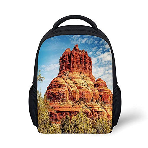 Kids School Backpack Western,Famous Bell Rock and Courthouse Butte in Sedona Arizona USA Nature Desert Decorative,Cinnamon Blue Green Plain Bookbag Travel Daypack