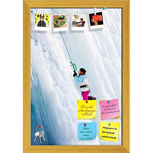 Artzfolio Man Climbing Frozen Waterfall Printed Bulletin Board Notice Pin Board | Golden Frame 16 X 23.5Inch