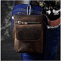 Le'aokuu Mens Genuine Leather Fanny Small Messenger Shoulder Satchel Waist Bag Pack Pouch (Dark Brown)