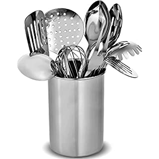 10pc Kitchen Utensil Sets & Utensil Pot Holder - Stainless Steel Non Stick Utensils, Cooking & Serving Spoons, Slotted Turner Spatula, Pasta Spaghetti Server, Ladle, Whisk, Meat Fork, BBQ Utensils Set