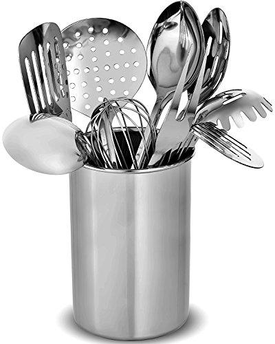 FineDine Premium Stylish 10 Küchenhelfer Set, moderne Edelstahl Gadgets für den täglichen Kochen – Turner, Spaghetti Server, Schöpflöffel, Löffel, Schneebesen, Fleischgabel, und Werkzeug Set Halter