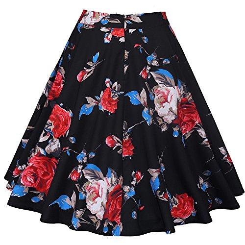 femminile a vita alta floreali / Polka Dots Stampa gonna a pieghe Midi Skater Skirt Rose-nero