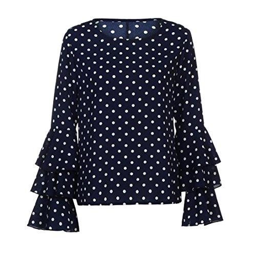 Camicia Nera, ASHOP La Camicetta Casuale Delle Camicia a Pois Allentata Della Manica Campana Delle Donne Di Modo Supera Blu