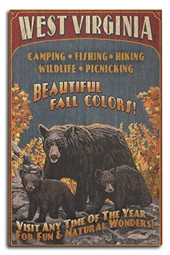 Lantern Press West Virginia - Famille d'ours Noir Vintage Sign 10 x 15 Wood Sign Multicolore