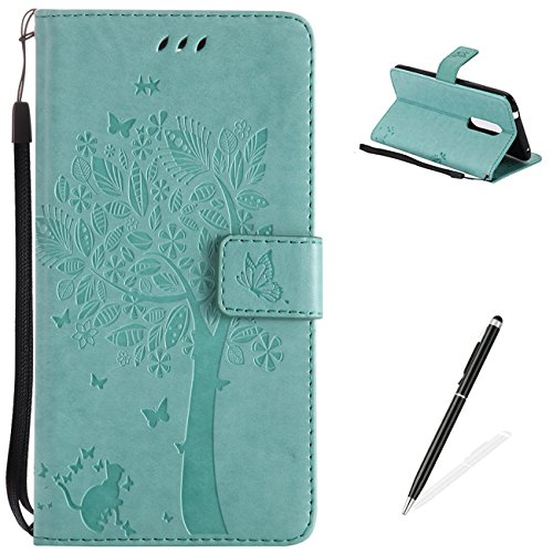 For ZTE AXON 7 Hülle,Premium PU Leder und Brieftasche Fall Bunte Muster Embossed flower Pattern mit [Magnetverschluss] [Stand Funktion] Protective Shell - Green Green Shell Snap