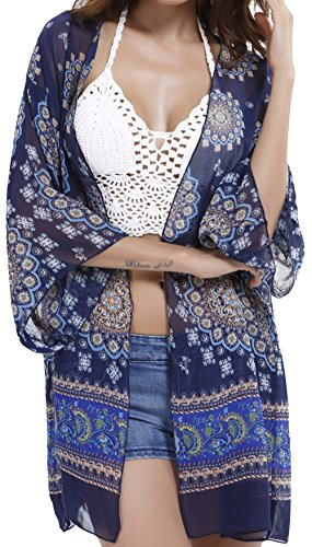Aixy Women's Vintage Sexy See-Through Chiffon Beachwear Cover-UPS Kimono Beach Dresse Cardigan Test