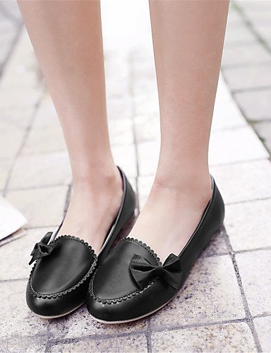 XAH@ Chaussures Femme-Extérieure / Habillé / Décontracté-Noir / Rose / Blanc-Talon Plat-Confort-Plates-Similicuir black-us9.5-10 / eu41 / uk7.5-8 / cn42