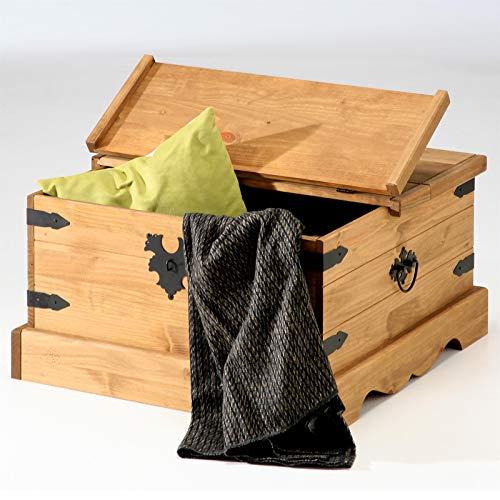 Mexico Möbel Truhentisch Couchtisch TEQUILA, Kiefer massiv, gewachst, 83x83x46cm - 2