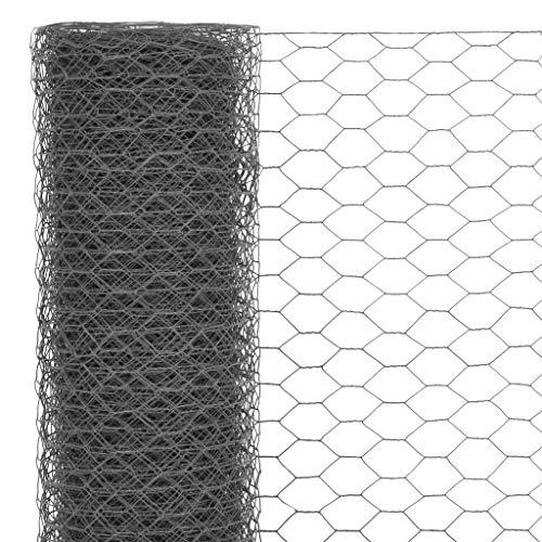 Tidyard Drahtgeflecht Stahl mit PVC-Beschichtung | Sechseckig Maschendraht | Gartenzaun Volierendraht Sechseckgeflecht | Maschenweite 13 mm 25 x 1,5 m Grau