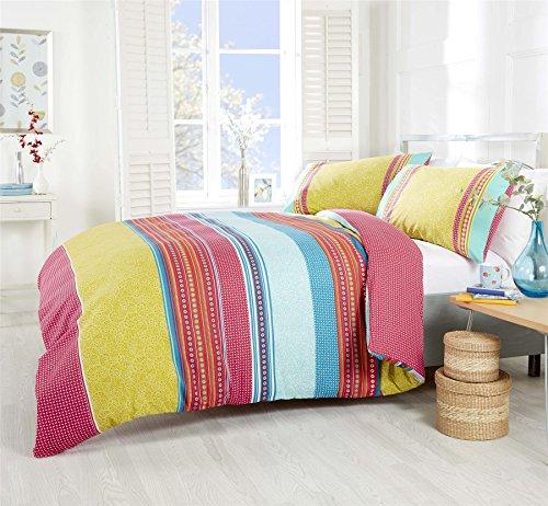Paisley Geometrische Streifen pink Blaugrün Baumwolle-Mischgewebe Single Bettbezug (Auf Einem Streifen Tröster)